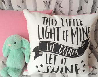This Little Light on pink Throw Pillow Cover