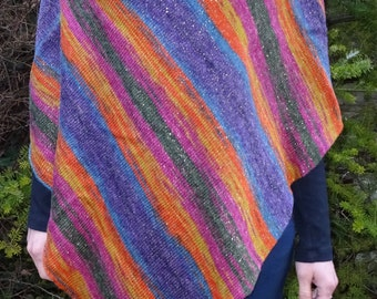 Poncho fall color with gradient, sparkle thread, size 38-40