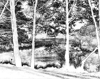 Wollaton Park Lake (A4 Digital art Print)