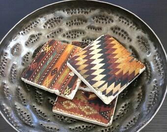Southwest Kilim Coasters- Kilim weaving inspired tiles, stone coasters,  set of 4