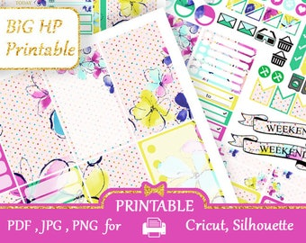 BIG Happy Planner Stickers 2018 Weekly kit Pink green yellow Happy Planner Printable Large Happy Planner Silhouette Cut files Cricut, coupon