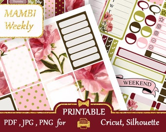 MAMBI Happy Planner Stickers Kit Maroon and beige peonies Stickers Printable Pink Flower Vertical Weekly KIT Silhouette Cut files COUPON