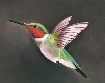 Ruby Throated Hummingbird - oil paint sketch