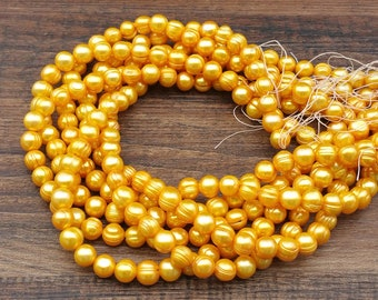 """Yellow gold freshwater pearls 8x9mm beads full 15.5"""" strand - cultured off-round banded ringed"""