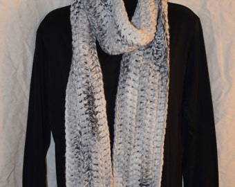 Crochet Scarf White to Black Marble Extra long