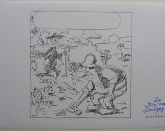 Original pencil drawing-the garden of Daubigny