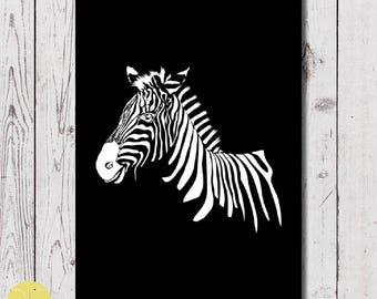 zebra wall art, zebra A4 posters, digital download