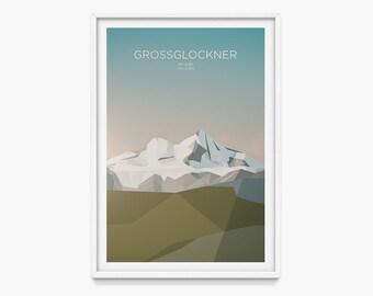 Grossglockner, Austria (Mountain Art Print, Mountain Poster / Austrian Mountains, Tyrol, Gift, Alps)