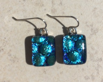 Dichroic Fused Glass Earrings Aqua Blue Bubble Drop Earrings with Solid Sterling Ear Wires
