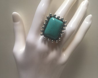 Silver, square statement turquoise adjustable trending tribal evening day ring.