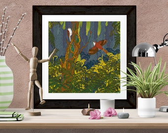 Giclee Print - 'Can't See the Wood for the Treecreepers' Birds Art Print