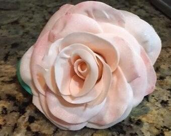 Light pink gumpaste rose. Hand crafted, wedding, birthday cake topper.