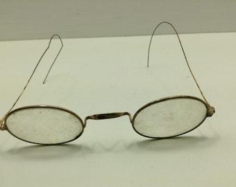 Rare Antique Civil War Era Oval Wire Rim Eyeglasses Saddle Bridge Cable Temples