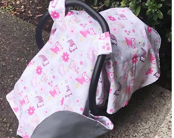 Owl theme canopy, carseat cover! Baby girl carseat cover!