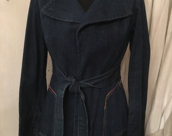 1960s Denim Belted Blazer, women's vintage denim jacket