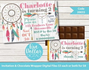 DreamcatcherTribal Feathers Personalised Digital Birthday Invitation & Chocolate Candy Bar Wrapper