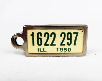 1950 Illinois License Plate Tag Keychain Disabled American Veterans ILL DAV IL Mini Size License Plate Vintage 50s