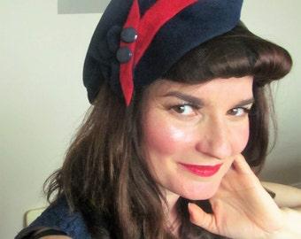 Vintage Style Navy felt Hat