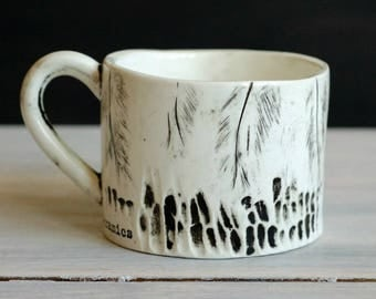 Ceramic mug. Use your wings. With Feathers. Tea Mug. Tea Cup. Coffee cup.
