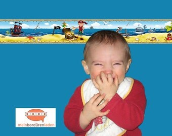 selbstklebende Kinderbordüre: Kleiner Pirat   Bordüren für Kinder, Piratenbordüre, Piratenschiff, Schatztruhe, Wandtattoo,  Vliesbordüre,