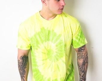 Lime Swirl Spiral Tie Dye T-Shirt Mens