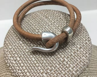 Brown leather wrap bracelet with silver clasp