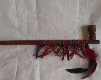 "Indian Wood Peace Pipe 16"" with Red Blue and Brown Leather and Feathers"