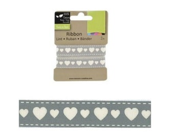 Decorative ribbon with hearts 2m (VC-8)