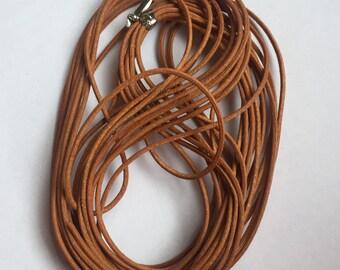 1.5mm Genuine Leather Tan Cord - 10m