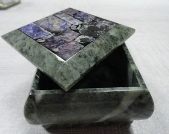 Stone box with mosaic cover