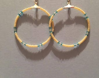 Small Hoop Earrings, beaded Blue and Yellow Seed Beads.
