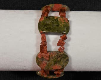 Unakite Bracelet with Goldstone Chips