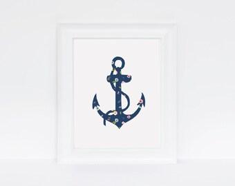 Anchor, Summer, Customizable Minimalist, Floral, Nursery Print, Tween girl, Teen girl Poster, Digital Download, Printable Art, Decor