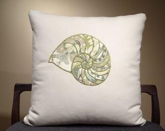 Beach Pillow, Sea Shells Decor, Seashells Cushion, Beach Decor, Sea Theme, Aquatic Throw Pillow, Aquatic Decor, Sea Life Pillow