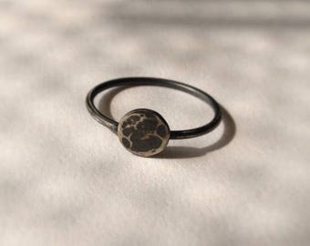 Moon phase stacking ring in oxidised sterling silver