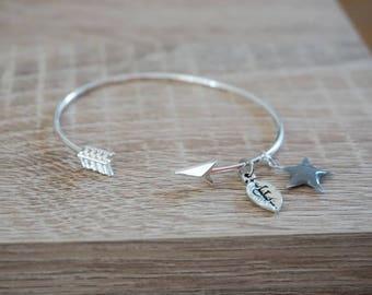 Bangle, ring, Bracelet arrow arrow, plate money, bridemaids gift