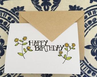 birthday card (orange floral)