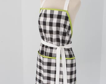 100% cotton black and white gingham apron with green accents