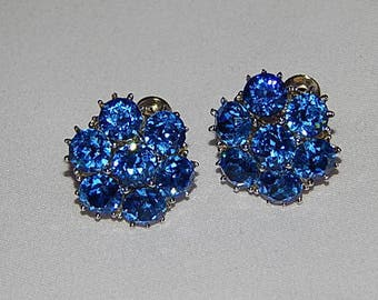 Vintage Earrings  Shimmering Blue Rhinestone Silver Tone Screw Back Bridal Wedding Mother of Bride Gift for Mom Old Hollywood Formal Event