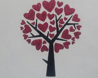 A4 Glitter Heart tree