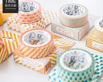 Basic Style Collection Washi Tape ~ Stripes, Dots, Checkered Washi Tape, Masking Tape, Scrapbooking Tape, Stylish Washi Tape, Rice Paper