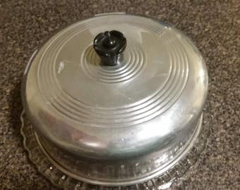 Vintage Aluminum Cake Cover w/ Glass Serving Plate