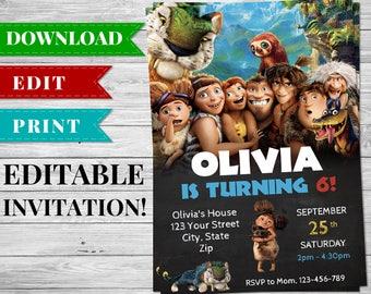 Jungle Invitation Invitation, Croods Jungle Invite, Editable Jungle Invite, Jungle Printable Invitation, Jungle Party Supplies