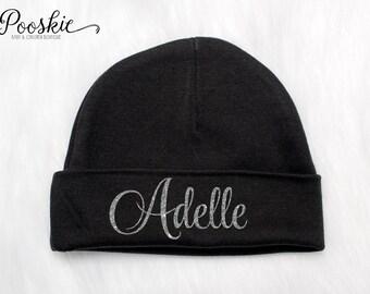 Baby Girl Newborn Hat, Black Baby Hat, Newborn Name Hat, Baby Shower Gift, Baby Hat, Newborn Hats, Hospital Hat for Baby, Girl Hat, P45