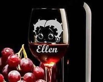Betty Boop Wine Glass