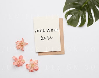 Invitation Mock up, Styled Stock Photography,  Flowers, Tropical Leaves (8537)