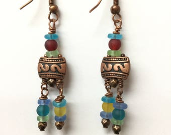 Fun Earrings With Copper Accents