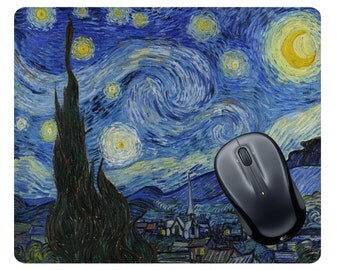 Van Gogh Starry Night print Starry Night gift Starry Night painting Starry Night fabric Art gift Art mousepad Starry Night mouse pad Artist