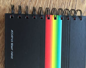 mini hardback assorted bright paper notebook