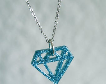 Geometric Blue Glitter Diamond Necklace